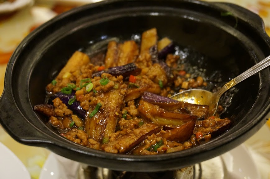 Spicy eggplant claypot
