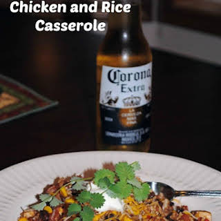 Tequila Laced Mexican Rice and Chicken Casserole.
