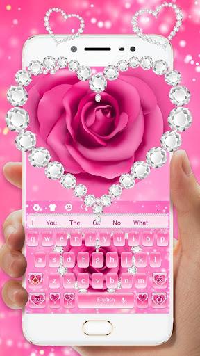 Pink Rose Diamond Keyboard for PC