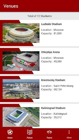 World Cup Football 2018 Schedule Screenshot