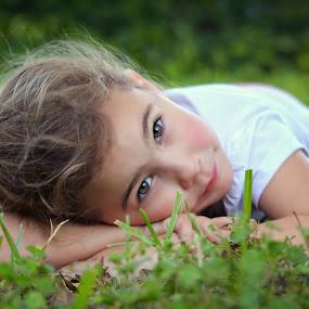 Untitled by Katie McKinney - Babies & Children Child Portraits ( portraiture, child, face, girl, nature, grass, children, cute, portrait, eyes, kid,  )