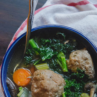 Turkey Meatball Soup With Kale + Mushrooms