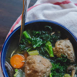 Turkey Meatball Soup With Kale + Mushrooms.