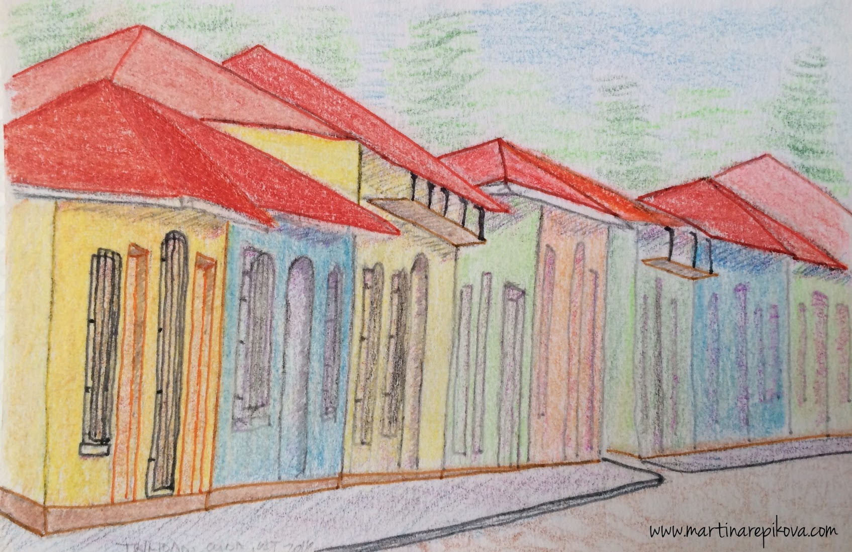 A street in Trinidad, Cuba (a coloured pencil sketch)