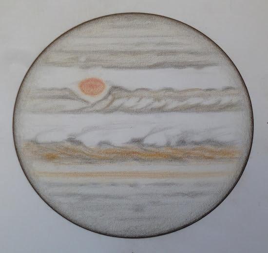 Photo: Jupiter le 20-21 avril 2017, entre 1h10 HL (haut du dessin) et 1h50 (bas du dessin).  T406 à 350X en bino, seeing médiocre.