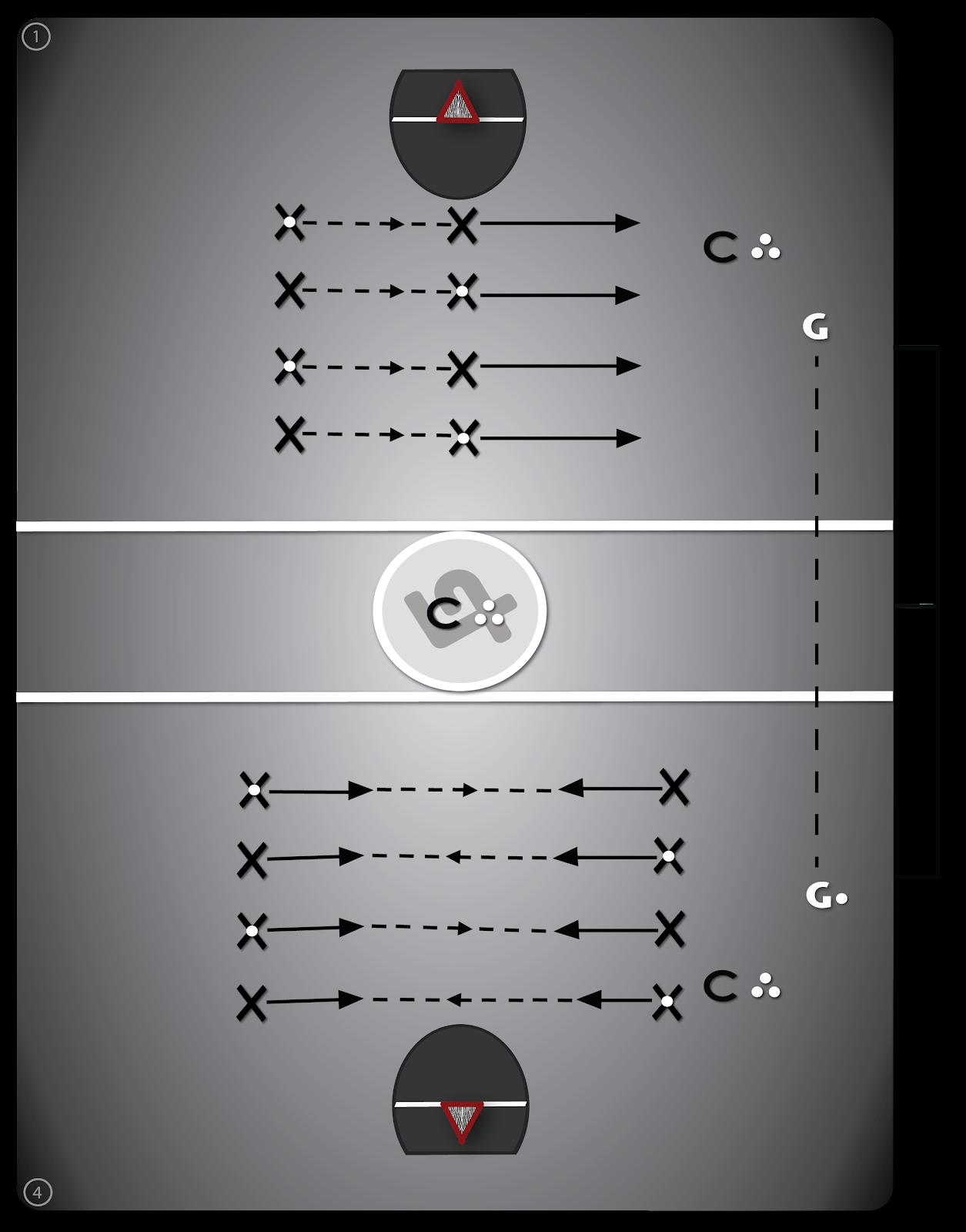 Lacrosse diagram drill #2 - Partner Passing.