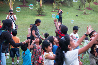 Photo: The fun-filled day ended with colourful bubbles.