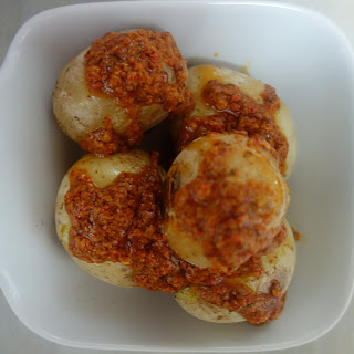 Papas Arrugadas con Mojo (Canarian Wrinkled Potatoes with Mojo Picon Sauce).