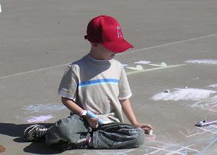 Photo: Sidewalk chalk was fun for Joshua!