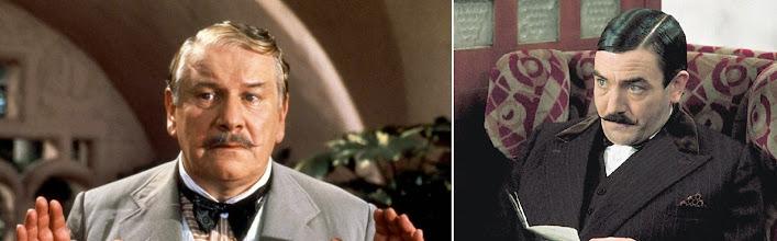 Photo: Peter Ustinov e Albert Finney interpretando o detetive Hercule Poirot: duas interpretações diferentes mas bastante eficazes.