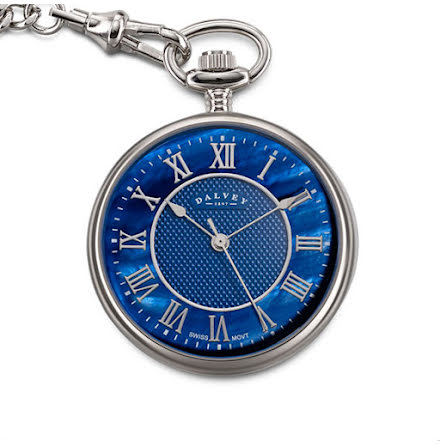 Dalvey Pocket Watch Open Face Blue MOP