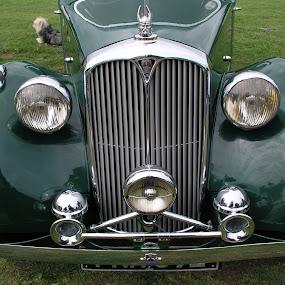 Green car by Vicki Clemerson - Transportation Automobiles ( car, green car, classic car, old car, headlights, green,  )