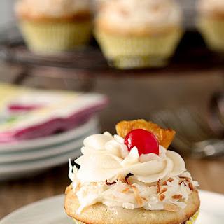Pina Colada Cupcakes with Rum Buttercream.