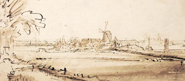 Paisaje abierto con casas y un molino de viento (el antiguo molino de cobre en Weesperzijde) ca.  1648, pluma y tinta marrón con lavado marrón, 4¾ x 9½.  Colección Albertina Museum, Viena, Austria.