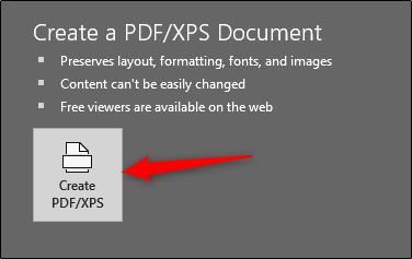 Microsoft Powerpoint Create a PDF/XPS Document button