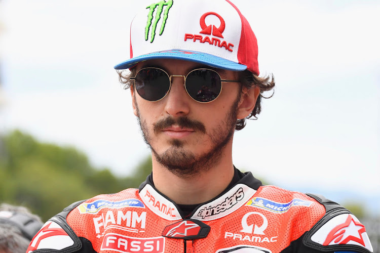 Francesco Bagnaia of Italy and Pramac Racing prepares to start on the grid before the MotoGP race at Circuit de Barcelona-Catalunya on September 27 2020 in Barcelona, Spain.