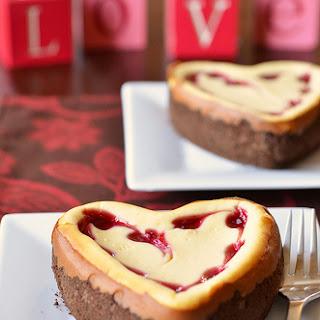 White Chocolate Raspberry Heart Cheesecake.