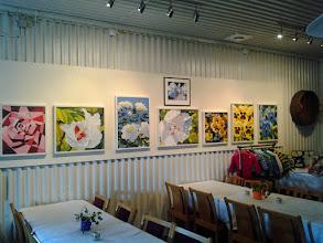 Photo: Ann-Mari Thorsén Klambro ställer ut sina tavlor här juli månad ut.