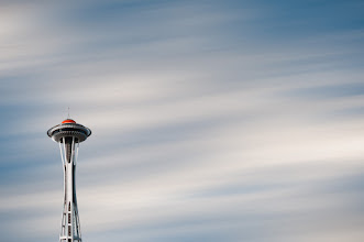 Photo: The Needle  I've previously posted this image in black and white but do to a recent inquiry revisited the color version and thought it was worth a share. This is a composite image of Seattle's Space Needle as seen from +Nicole S. Young's former Seattle apartment set against a comped in sky from my front yard that I blurred in Photoshop. I used +onOne Software's Perfect Mask to pull the Space Needle from the original sky and Layers to blend the two images.  #blog #architecture