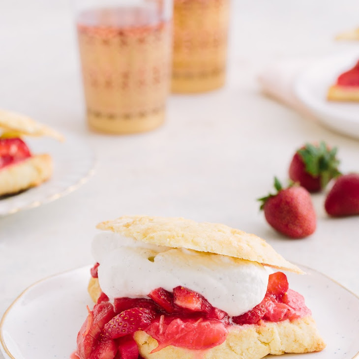 Easy Roasted Strawberry-Rhubarb Shortcakes with Cardamom Whipped Cream Recipe