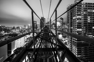 Photo: [Chuck] Travelling eastbound.  ISO: 200 Shutter: 25 Seconds Aperture: About F/8 Camera: Canon 5D MK II Lens: Rokinon 14mm F/2.8  #toronto #blackandwhite #rooftopping #contruction #urbex #urbanexploration