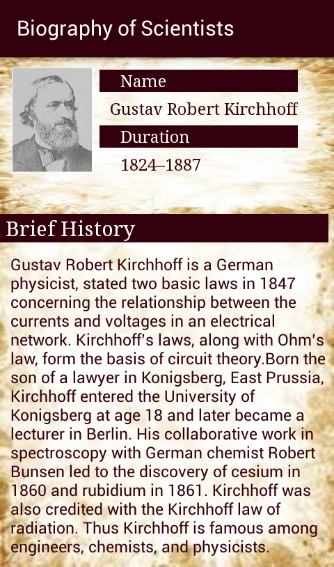 Brief Biography of Scientists- screenshot