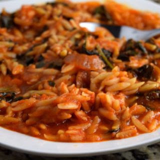 Tomato and Roasted Red Pepper Soup With Orzo and Organic Tuscan Kale.