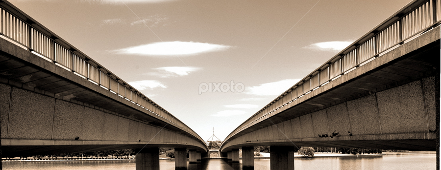 Commonwealth avenue bridge by Michael Miller - Novices Only Objects & Still Life ( water, commonwealth, burley, white, lake, house, birds, griffin, parliament, avenue, canberra, bridge, black, river )