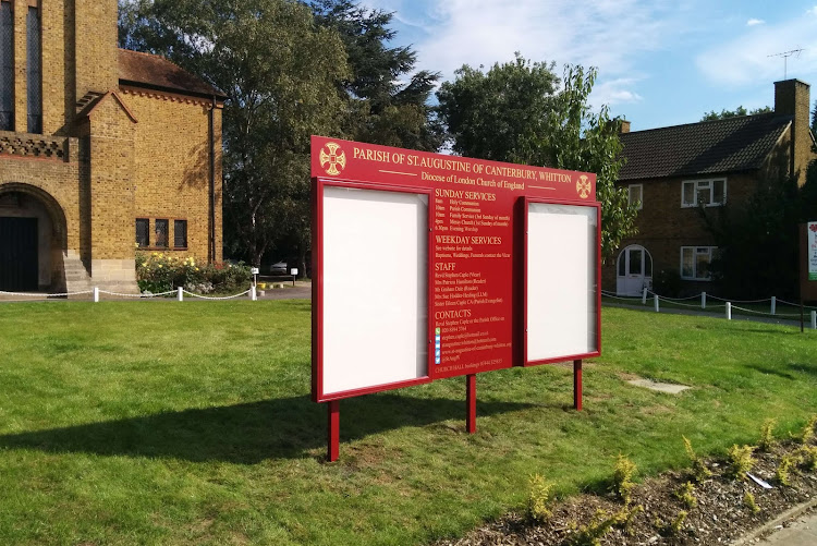 Red Double Notice Boards on Backing panel with posts