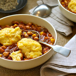Eggplant & Chickpea Stew with Cheddar Dumplings.