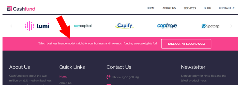 floating bar with invitation to take the quiz at the bottom of the Cashfund webpage