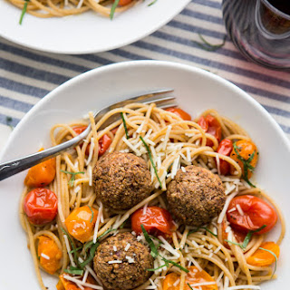 Lentil Meatballs with Burst Tomato Pasta
