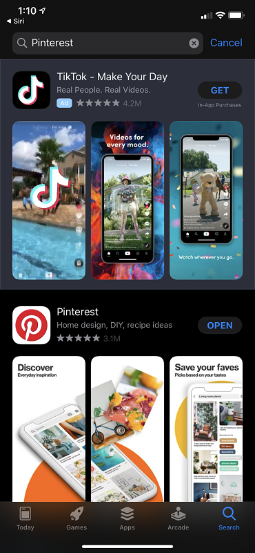 Pinterest in the App Store