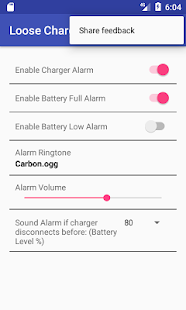 Loose Charger Alarm - náhled