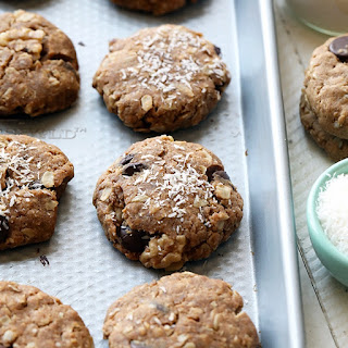 Healthy Cowboy Cookies with Peanut Butter, Coconut, and Walnuts.