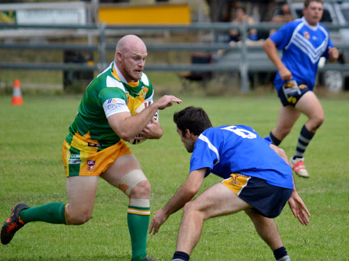 Boggabri halfback Bob Jones runs at a Dungowan defender. Jones crossed for one of his side's two tries on Saturday.