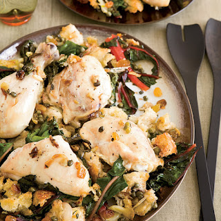 Chicken Baked on a Bed of Bread and Swiss Chard