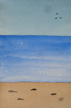 Photo: WinterBeach - 6 x 4 inch watercolor. One only.