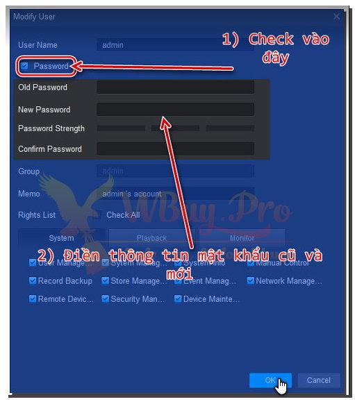 đổi mật khẩu KBVision