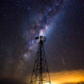 Windmill in the night sky by Gill Fry - Landscapes Starscapes ( milkyway, night photography, stars, night, windmill, nightscape, milky way,  )