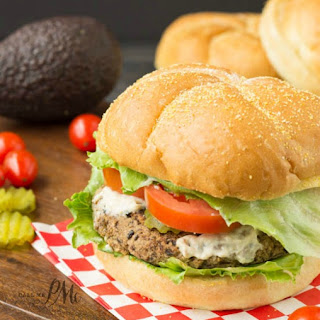 Spicy Homemade black Bean Veggie Burger with Avocado Cream Sauce