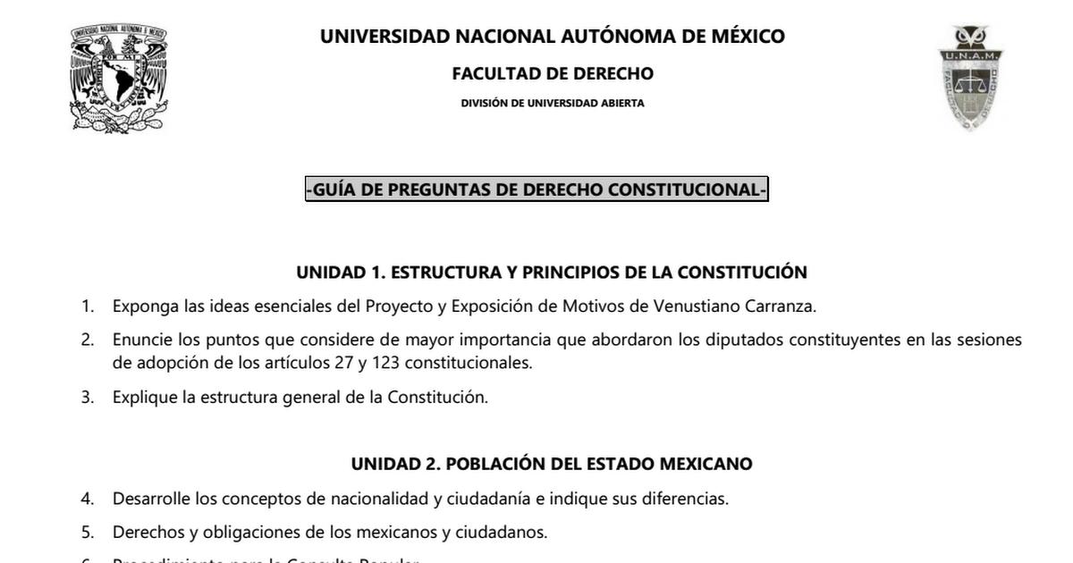 Guia De Preguntas Derecho Constitucional Francisco Burgoa