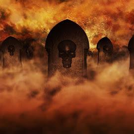 Cemetery At Night With Tombstones With Skulls And Burning Sky Fu by Aleksandar Ilic - Digital Art Places ( magic, symbol, yard, hang, shadow, moonlight, dusk, concept, headstone, clouds, mist, graveyard, halloween, pumpkins, gray, cemetry, dark, gloomy, season, skull, 3d illustration, event, darkness, cemetery, sky, midnight, haunting, horror, tombstone, grave, tomb, night, black, misty, jack, spooky, celebration, face, moon, 3d rendering, october, autumn, evil, evening, pumpkin, party, fog )