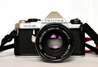 Photo: My Pentax ME Super, came to me for nothing from an acquaintance in the camera shop local to where I lived then. Since it's become my film workhorse and I much prefer using it to using my Nikon D50, mostly due to the size and the much larger, brighter view finder with split prism focus screen. I've fitted this one with a Helios 44K-4 lens which is the wonderful Helios 44 lens made with a K mount rather than M44 threads, a really stunning lens!