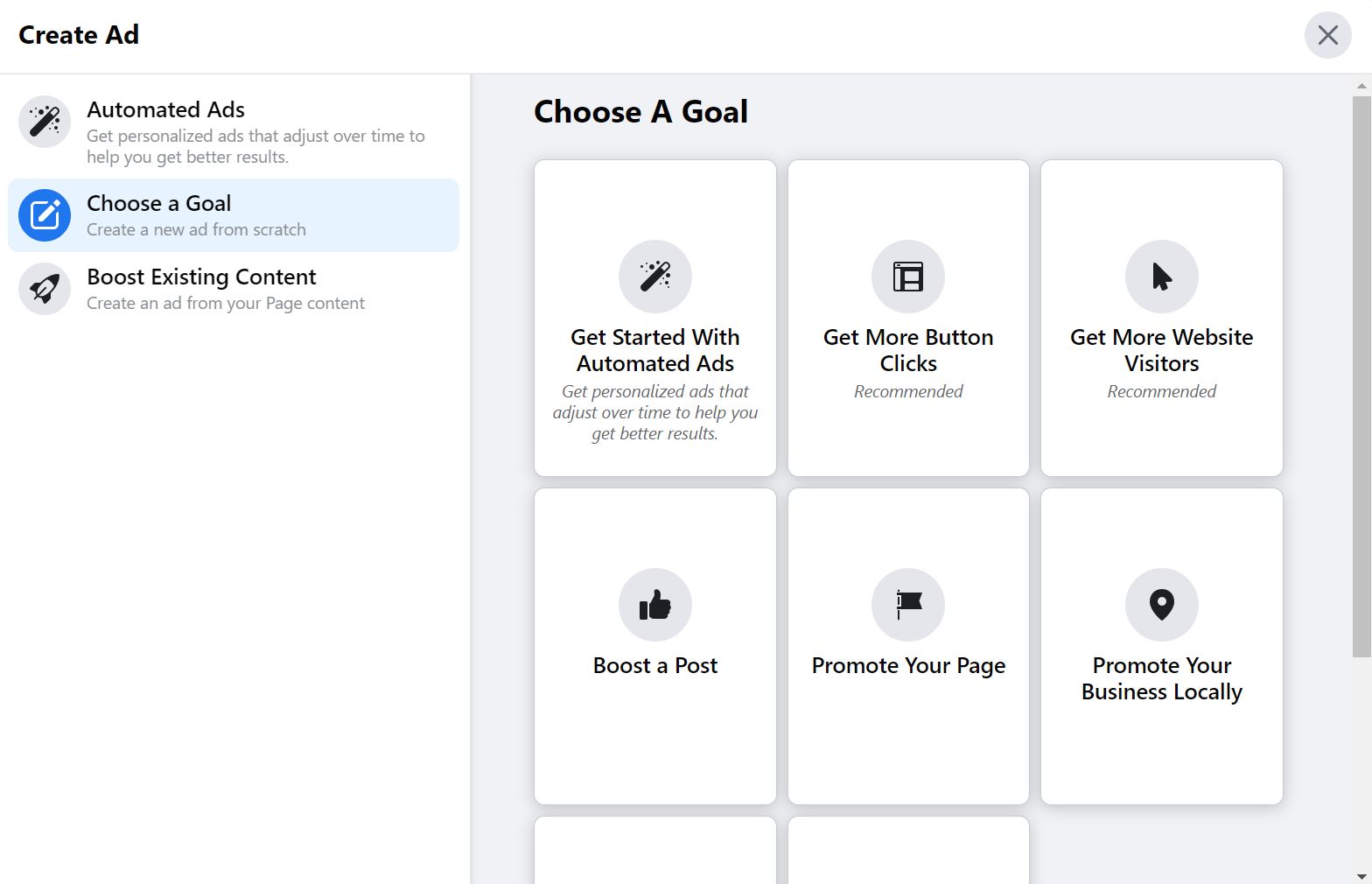 Choosing a goal in Facebook Ads Manager