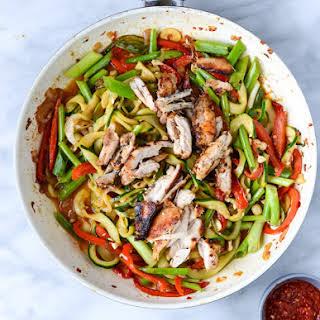 Thai Drunken Zucchini Noodles with Spicy Honey Chicken.