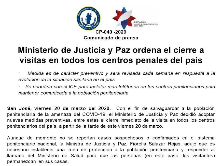 Imagen MINISTERIO DE JUSTICIA Y PAZ ORDENA EL CIERRE A VISITAS EN TODOS LOS CENTROS PENALES DEL PAÍS