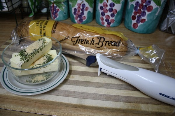 Get out your cutting board, electric knife, pastry brush, small microwave safe bowl and...