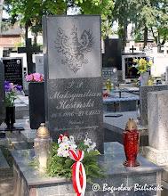 Photo: Cmentarz św. Franciszka w Łodzi. Skromny pomnik w formie niewielkiej wysmukłej steli z szarego granitu ozdobionej orłem, nad grobem Maksymiliana Kosińskiego (ur. 18 kwietnia 1846, zmarłego 27 kwietnia 1923), weterana Powstania Styczniowego 1863.
