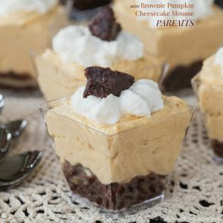 Mini Brownie Pumpkin Cheesecake Mousse Parfaits.
